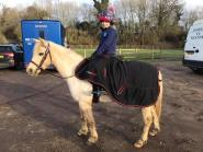 Alison Hall - Holly & Freddie keeping warm with his Protechmasta rug waiting for a Dressage clinic, the fabulous Harry Hall One Club discount made this rug affordable