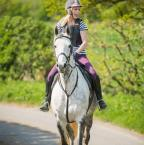 Amanda Gordon - My friend and i setting off on my two ex racers , the grey weari g your fabulous protechmaster ear veil , and it really does work, and the chestnit wearing the protechmaster poll guard