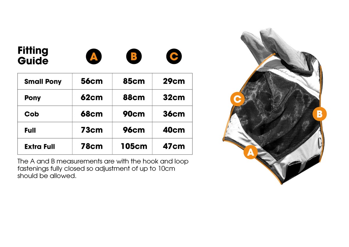 Fly Mask MA5434 Size Guide | Harry Hall