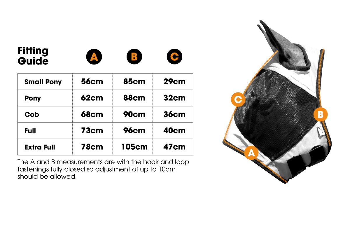 Fly Mask MA5435 Size Guide | Harry Hall