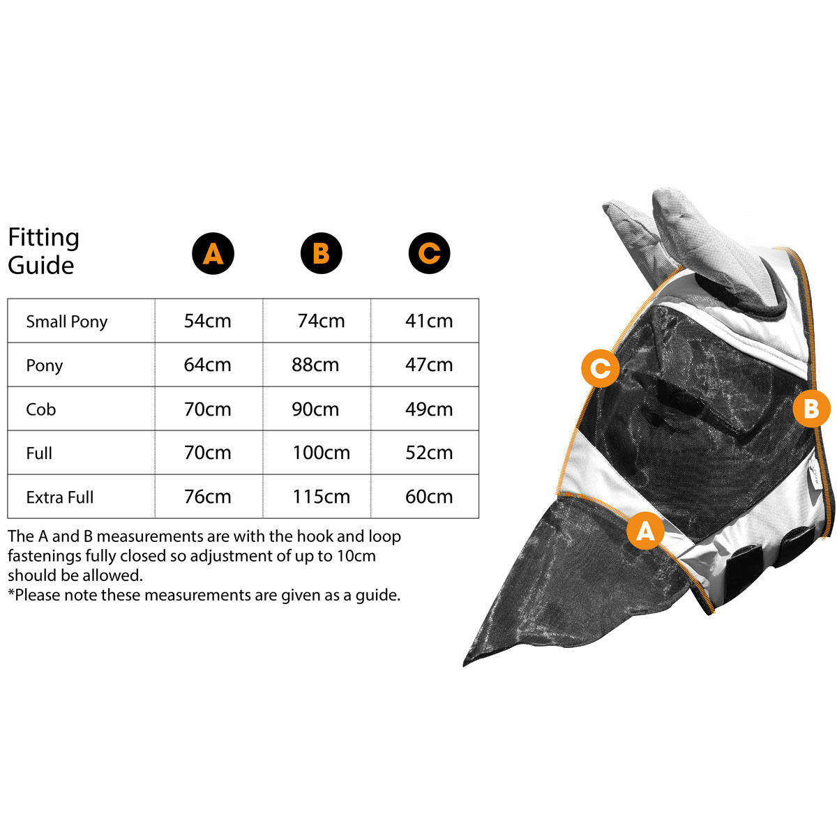 Fly Mask MA7067 Size Guide | Harry Hall
