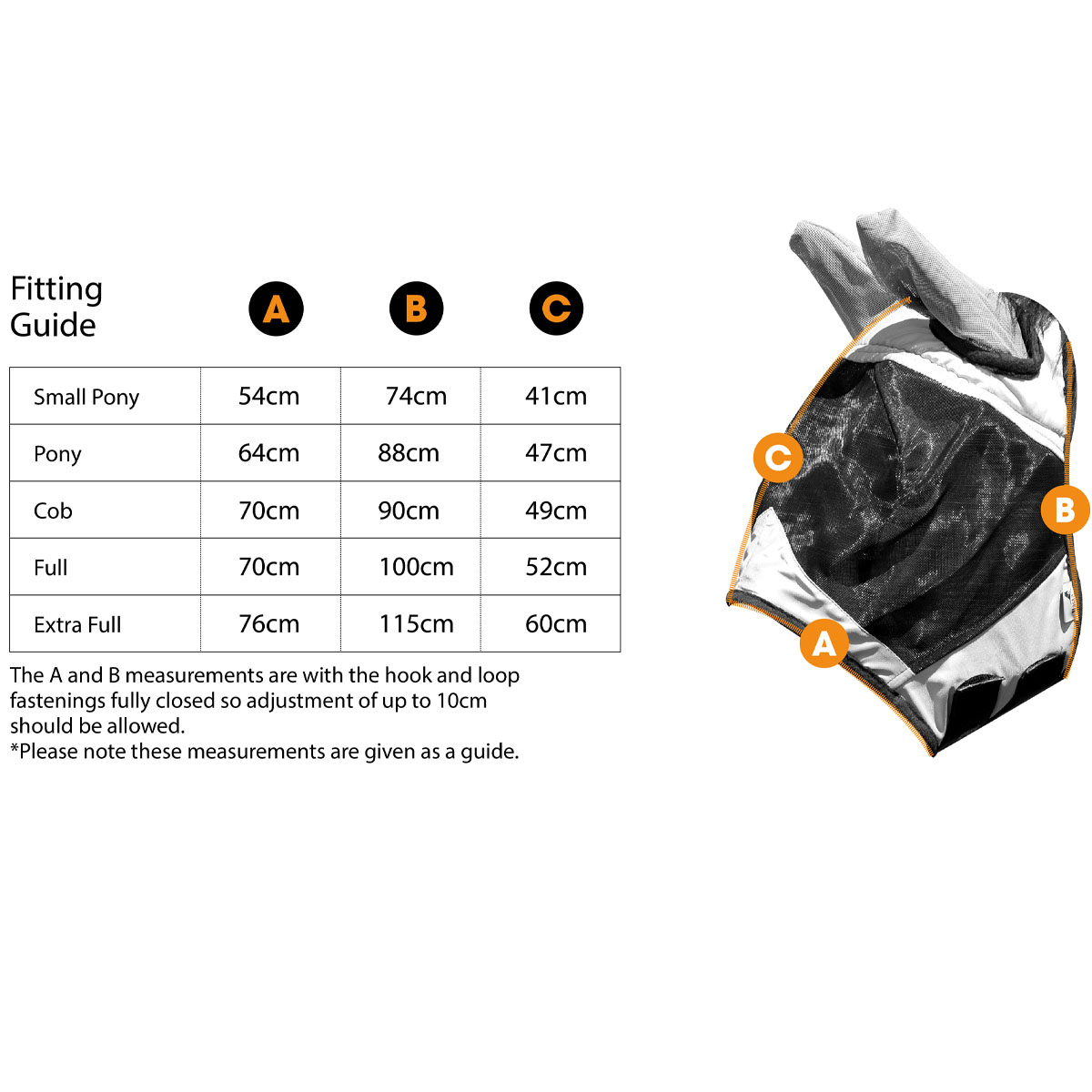 Fly Mask MA7071 Size Guide | Harry Hall