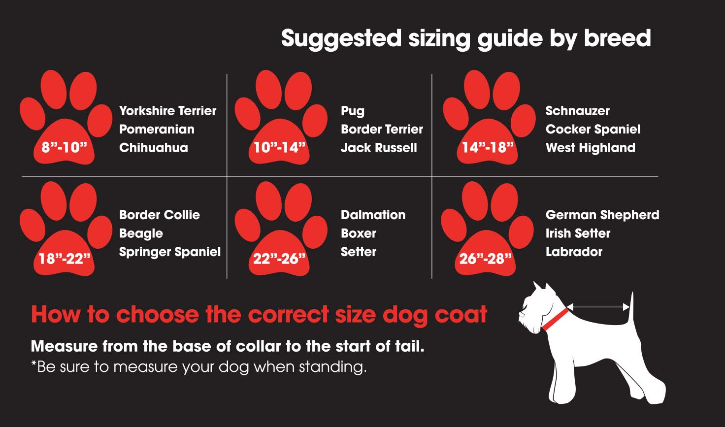 Protechmasta Dog Coats | Size Guide | Harry Hall