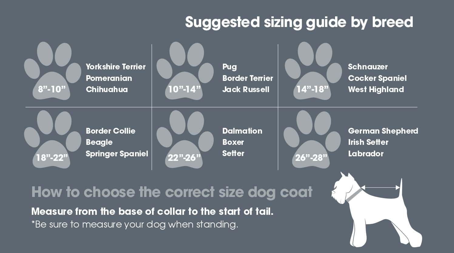 Woofmasta Dog Coats | Size Guide | Harry Hall