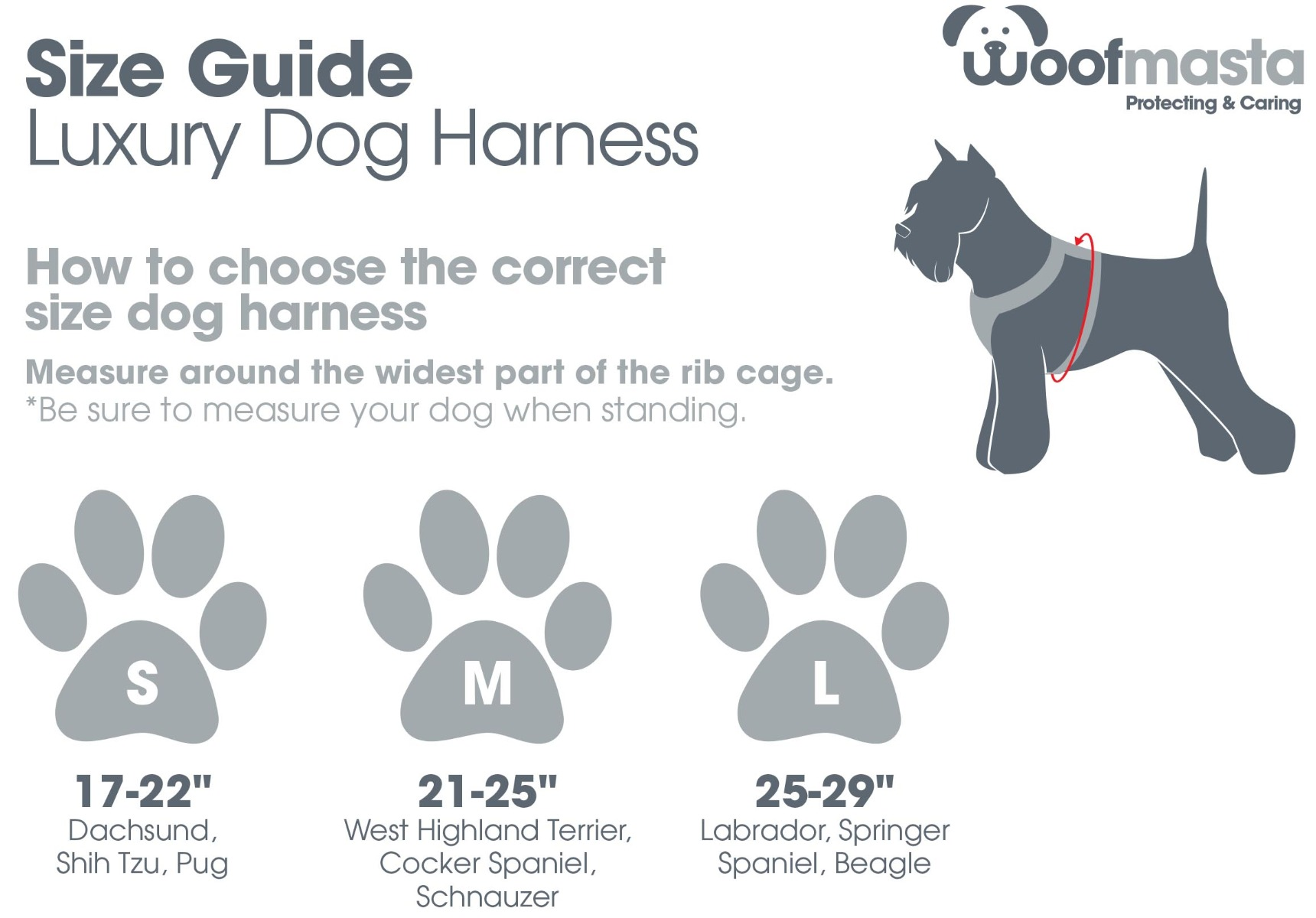 Woofmasta Dog Harness | Size Guide